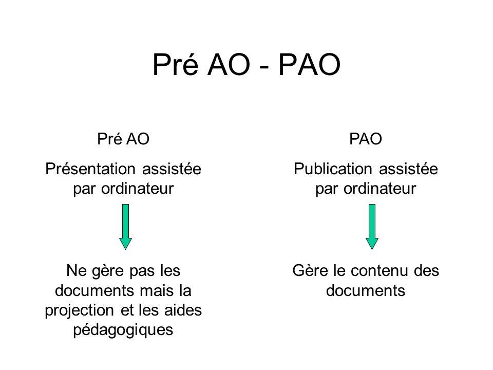 Pré AO - PAO Pré AO Présentation assistée par ordinateur Ne gère pas les documents mais la projection et les aides pédagogiques PAO Publication assist