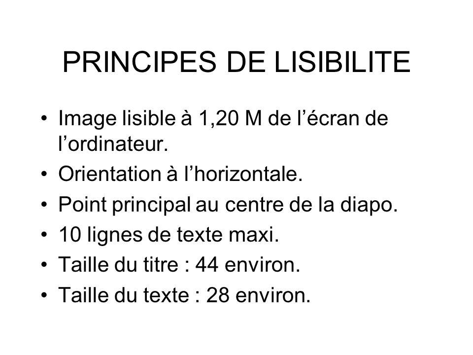 PRINCIPES DE LISIBILITE Image lisible à 1,20 M de lécran de lordinateur. Orientation à lhorizontale. Point principal au centre de la diapo. 10 lignes
