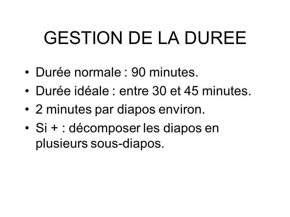 GESTION DE LA DUREE Durée normale : 90 minutes. Durée idéale : entre 30 et 45 minutes. 2 minutes par diapos environ. Si + : décomposer les diapos en p