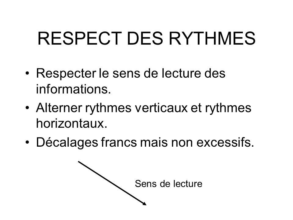 RESPECT DES RYTHMES Respecter le sens de lecture des informations. Alterner rythmes verticaux et rythmes horizontaux. Décalages francs mais non excess