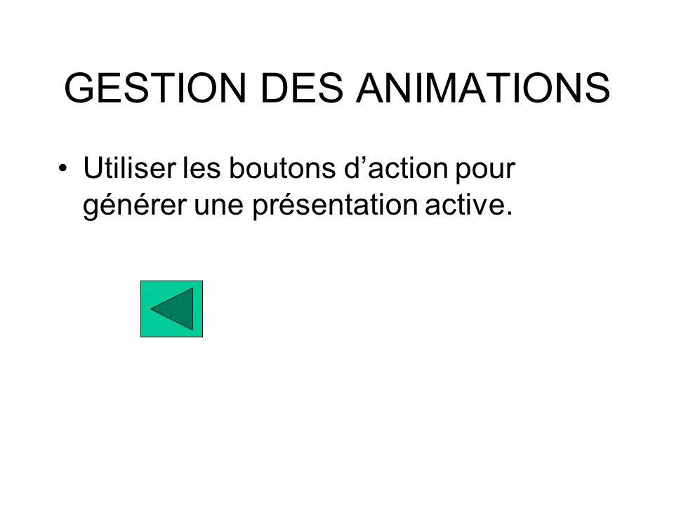 GESTION DES ANIMATIONS Utiliser les boutons daction pour générer une présentation active.