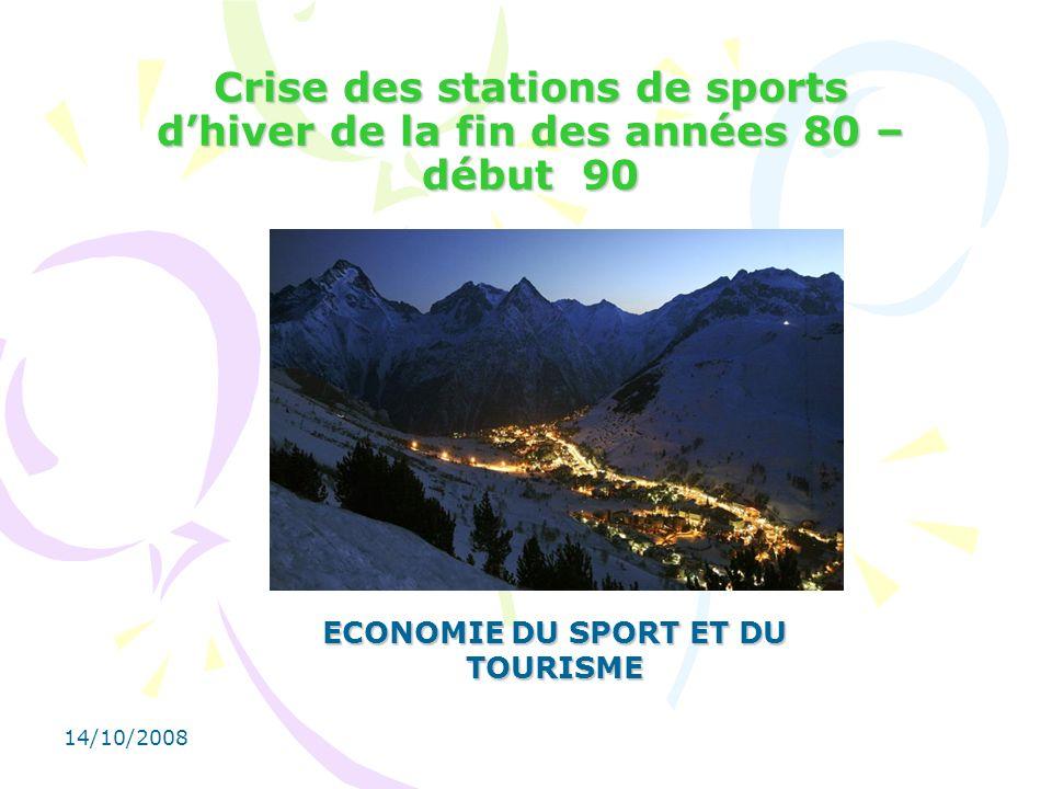 14/10/2008 Crise des stations de sports dhiver de la fin des années 80 – début 90 ECONOMIE DU SPORT ET DU TOURISME