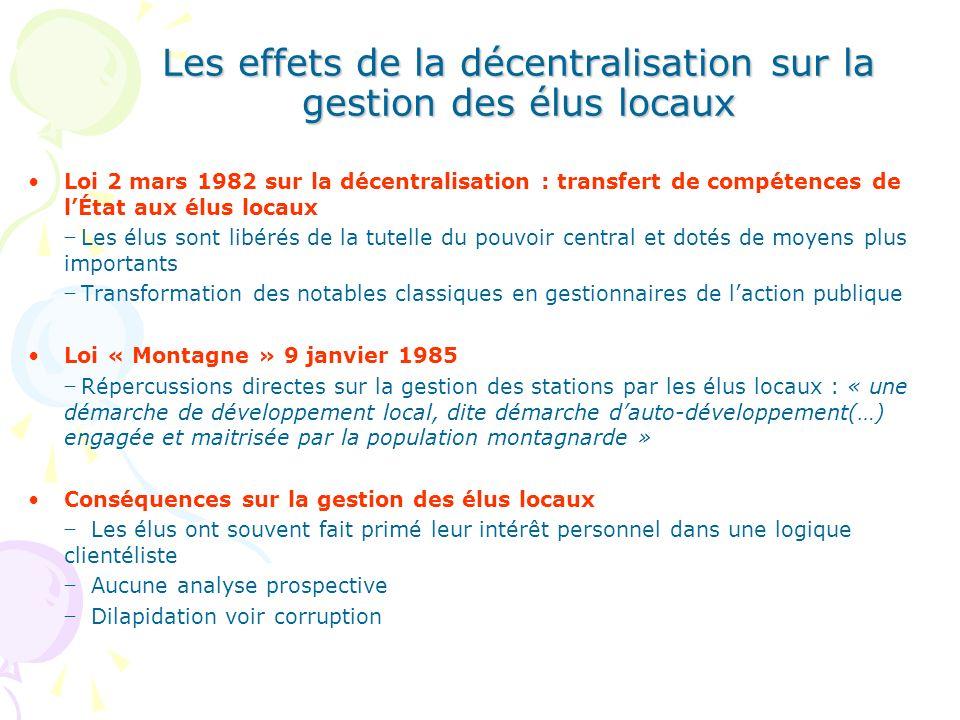 Les effets de la décentralisation sur la gestion des élus locaux Loi 2 mars 1982 sur la décentralisation : transfert de compétences de lÉtat aux élus