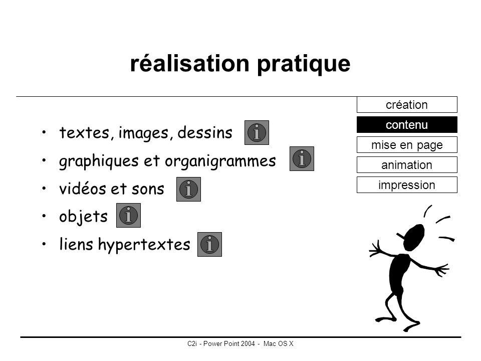 C2i - Power Point 2004 - Mac OS X réalisation pratique unité de base = diapositive manipulation possibles différents formats possibles création conten