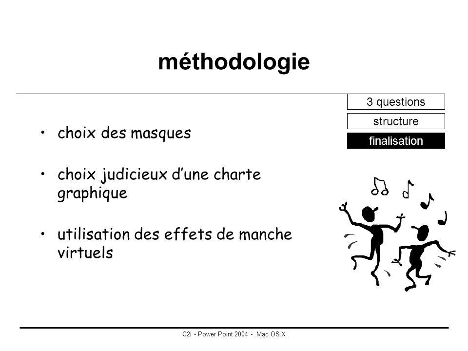 C2i - Power Point 2004 - Mac OS X méthodologie 3 questions structure finalisation déterminer le nombre et le type de diapositives nécessaires créer un