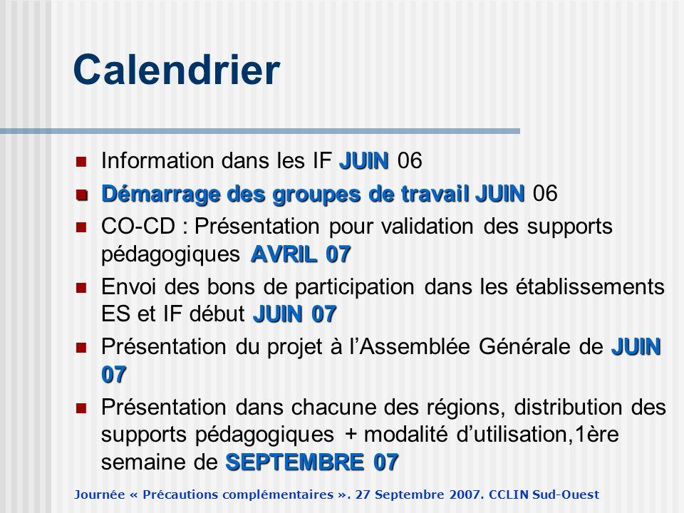 Journée « Précautions complémentaires ». 27 Septembre 2007. CCLIN Sud-Ouest Calendrier JUIN Information dans les IF JUIN 06 Démarrage des groupes de t