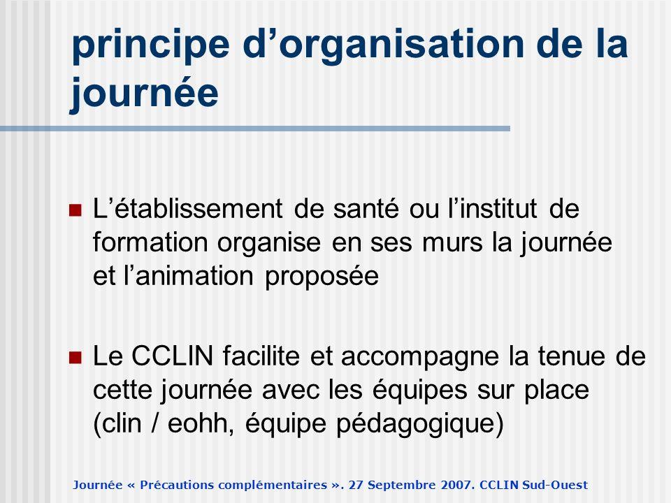Journée « Précautions complémentaires ». 27 Septembre 2007. CCLIN Sud-Ouest principe dorganisation de la journée Létablissement de santé ou linstitut