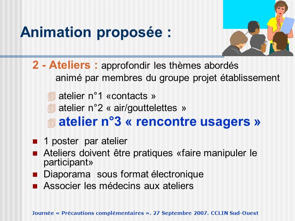 Journée « Précautions complémentaires ». 27 Septembre 2007. CCLIN Sud-Ouest Animation proposée : 2 - Ateliers : approfondir les thèmes abordés animé p