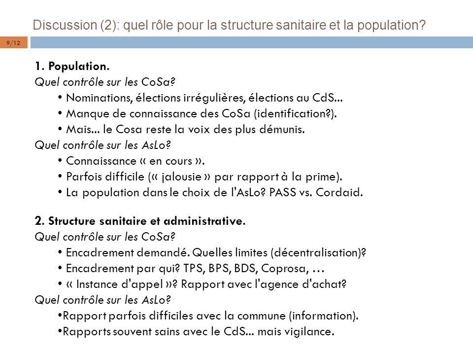 Discussion (2): quel rôle pour la structure sanitaire et la population? 1. Population. Quel contrôle sur les CoSa? Nominations, élections irrégulières
