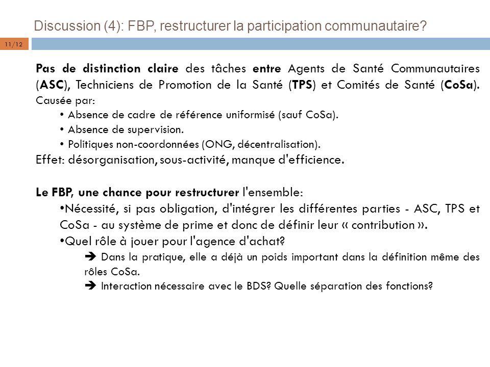 Discussion (4): FBP, restructurer la participation communautaire? Pas de distinction claire des tâches entre Agents de Santé Communautaires (ASC), Tec