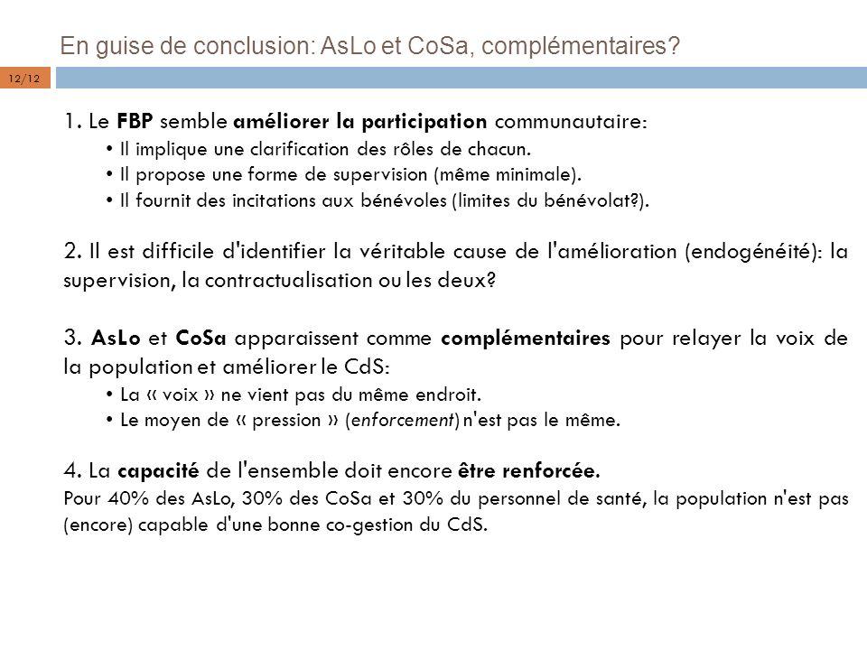 En guise de conclusion: AsLo et CoSa, complémentaires? 1. Le FBP semble améliorer la participation communautaire: Il implique une clarification des rô