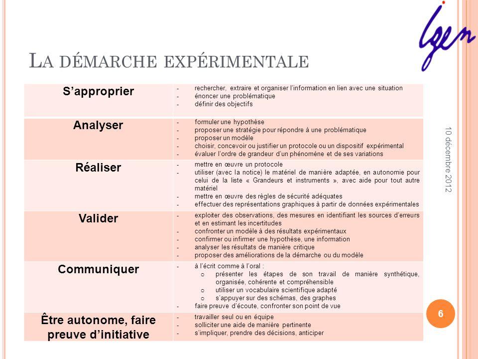 L A DÉMARCHE EXPÉRIMENTALE Des compétences nécessitant des connaissances et des capacités: Dans le domaine de la métrologie.