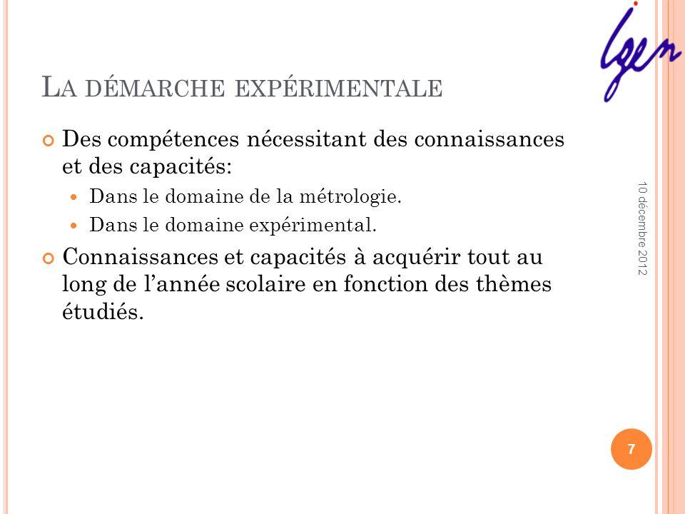 L A DÉMARCHE EXPÉRIMENTALE Des compétences nécessitant des connaissances et des capacités: Dans le domaine de la métrologie. Dans le domaine expérimen
