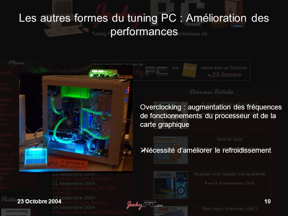 23 Octobre 200410 Les autres formes du tuning PC : Amélioration des performances Overclocking : augmentation des fréquences de fonctionnements du proc