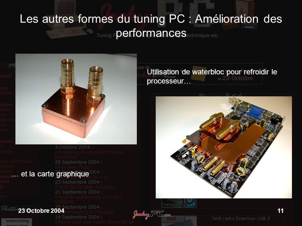 23 Octobre 200411 Les autres formes du tuning PC : Amélioration des performances Utilisation de waterbloc pour refroidir le processeur… … et la carte