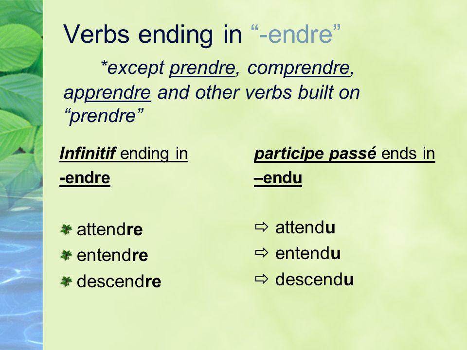 Verbs ending in -endre *except prendre, comprendre, apprendre and other verbs built on prendre Infinitif ending in -endre attendre entendre descendre