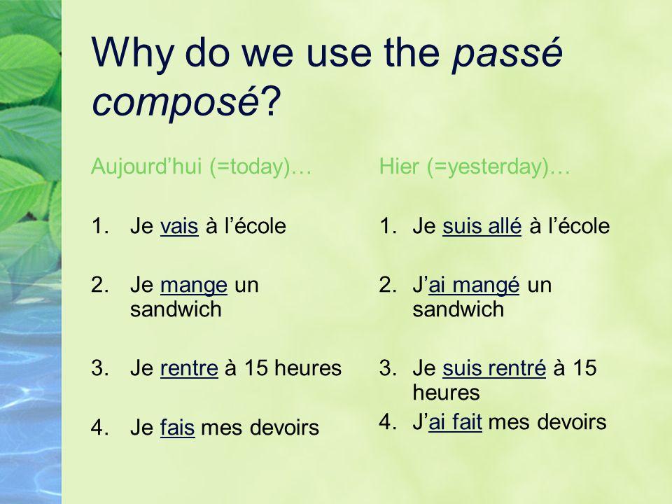 Why do we use the passé composé? Aujourdhui (=today)… 1.Je vais à lécole 2.Je mange un sandwich 3.Je rentre à 15 heures 4.Je fais mes devoirs Hier (=y