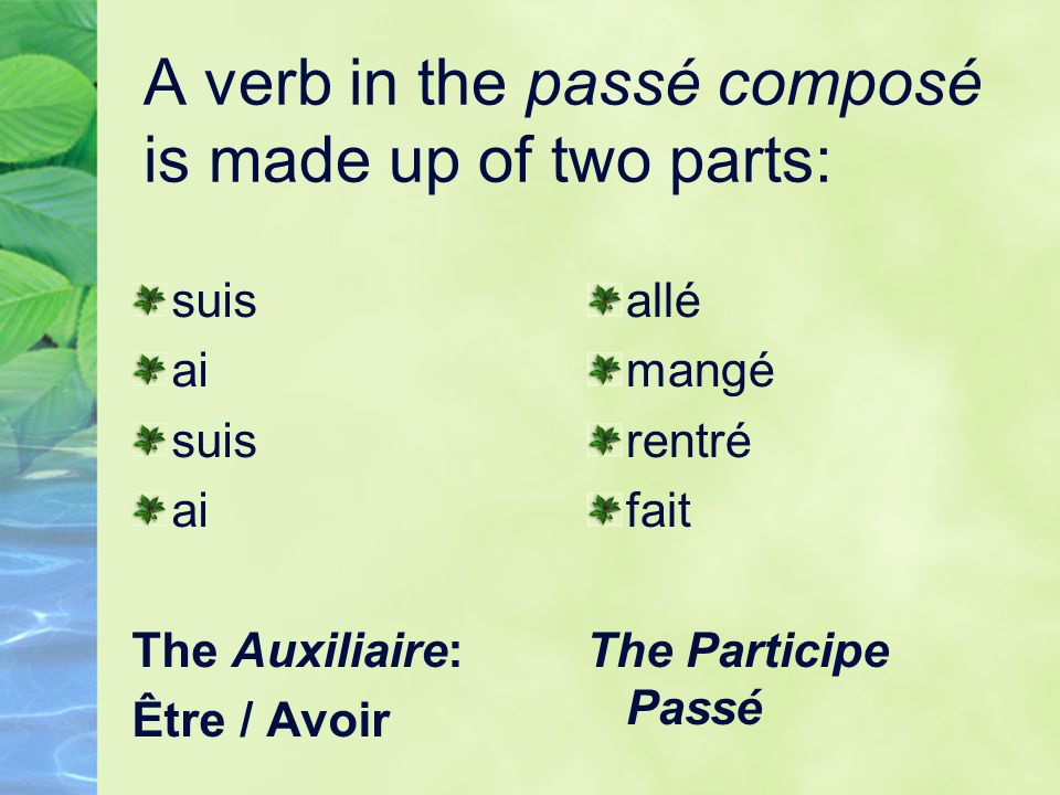 Lauxiliaire ÊTRE For all verbes pronominaux (verbs with SE in front, for example sappeler) AND aller(to go), venir (to come), arriver (to arrive), rester (to stay), partir (to leave), entrer (to enter), sortir (to go out), monter (to go up), descendre (to descend), naître (to be born) et mourir (to die)