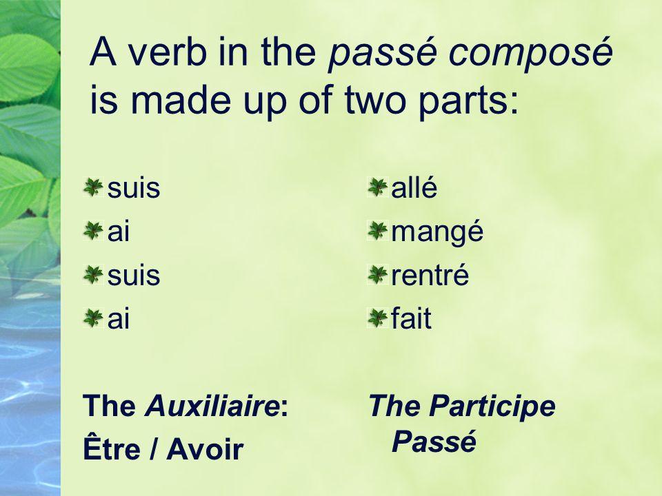 A verb in the passé composé is made up of two parts: suis ai suis ai The Auxiliaire: Être / Avoir allé mangé rentré fait The Participe Passé