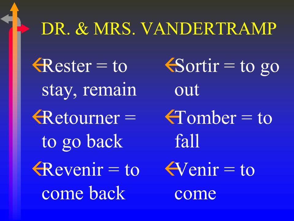 DR. & MRS. VANDERTRAMP ßMonter = to go up ßMourir = to die ßNaître = to be born ßPartir = to depart, leave ßRentrer = to come back (home)