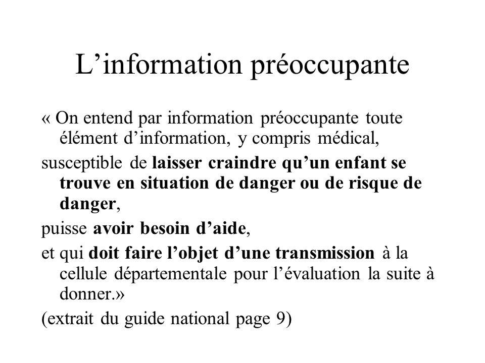 Missions de la cellule Recueillir les informations préoccupantes et en accuser réception Les analyser, les évaluer ou les faire évaluer Saisir linspec