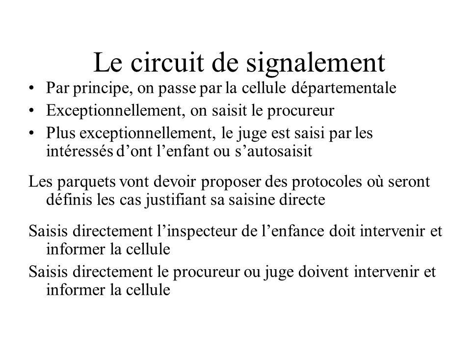 Lieu unique Toutes les informations préoccupantes doivent lui remonter (L226-3 et L226-2-1 CASF) Ceux qui font des signalements directs au procureur «