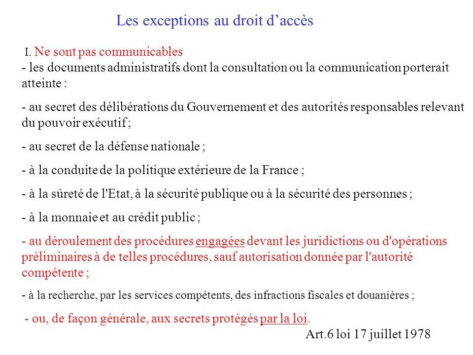 Le principe : la communication Les anciens articles 6 et 6bis de la loi du 17 juillet 1978