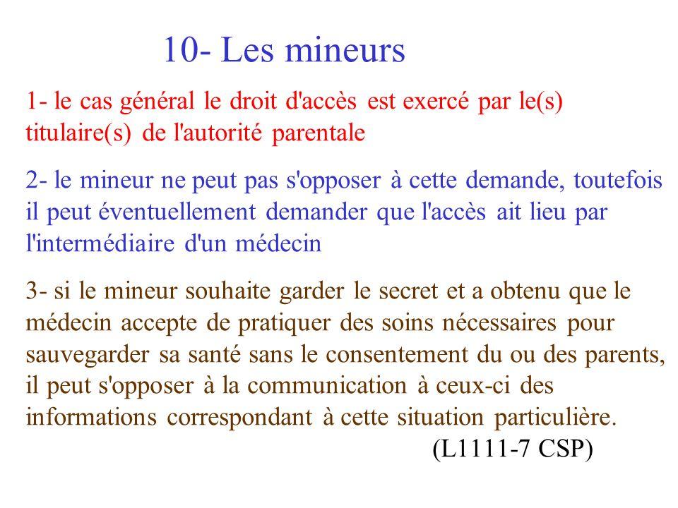 6/ la personne est informée de ce droit et des modalités 7/ la communication doit avoir lieu dans les 8 jours et après 48H de réflexion (2 mois pour l