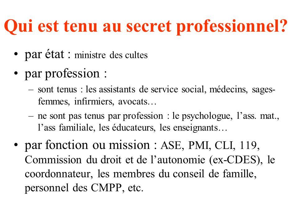 Pas de secret informations partagées Secret absolu LE PROFESSIONNEL EST DETENTEUR DINFORMATIONS à caractère public à caractère professionnel à caractè