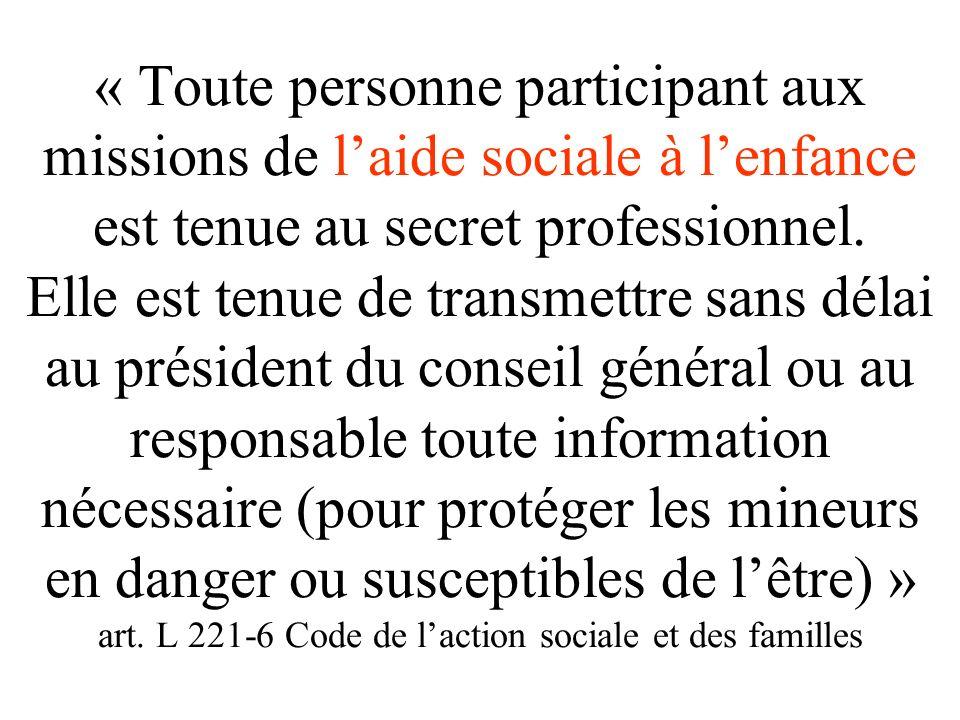 Article L411-3 CASF Les assistants de service social et les étudiants des écoles se préparant à l'exercice de cette profession sont tenus au secret pr