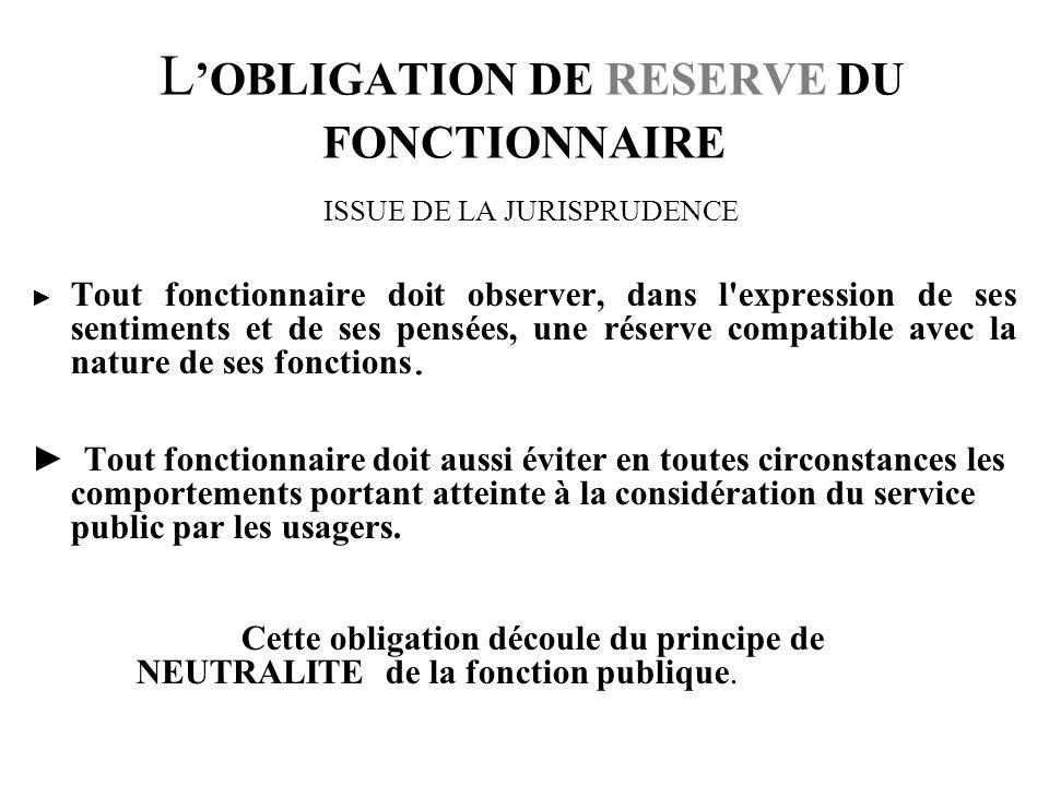 LOBLIGATION DE DISCRETION DU FONCTIONNAIRE LOI de 1983 sur les droits et obligations des fonctionnaires Article 26 « Les fonctionnaires sont tenus au