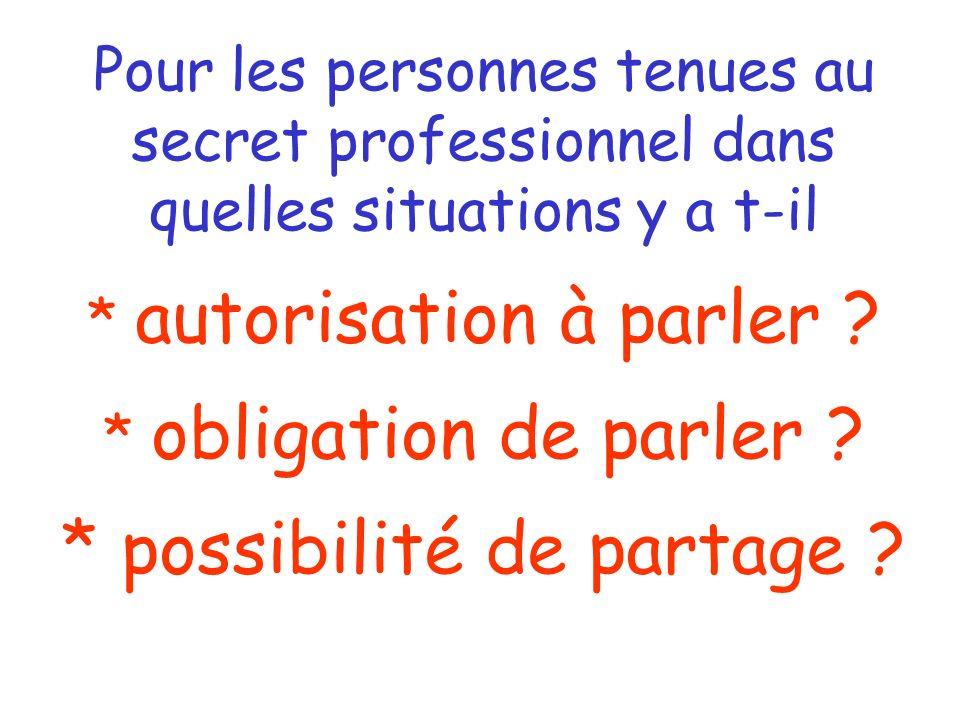 Le secret professionnel Art. 226-13 du Code pénal La révélation d'une information à caractère secret par une personne qui en est dépositaire - par éta