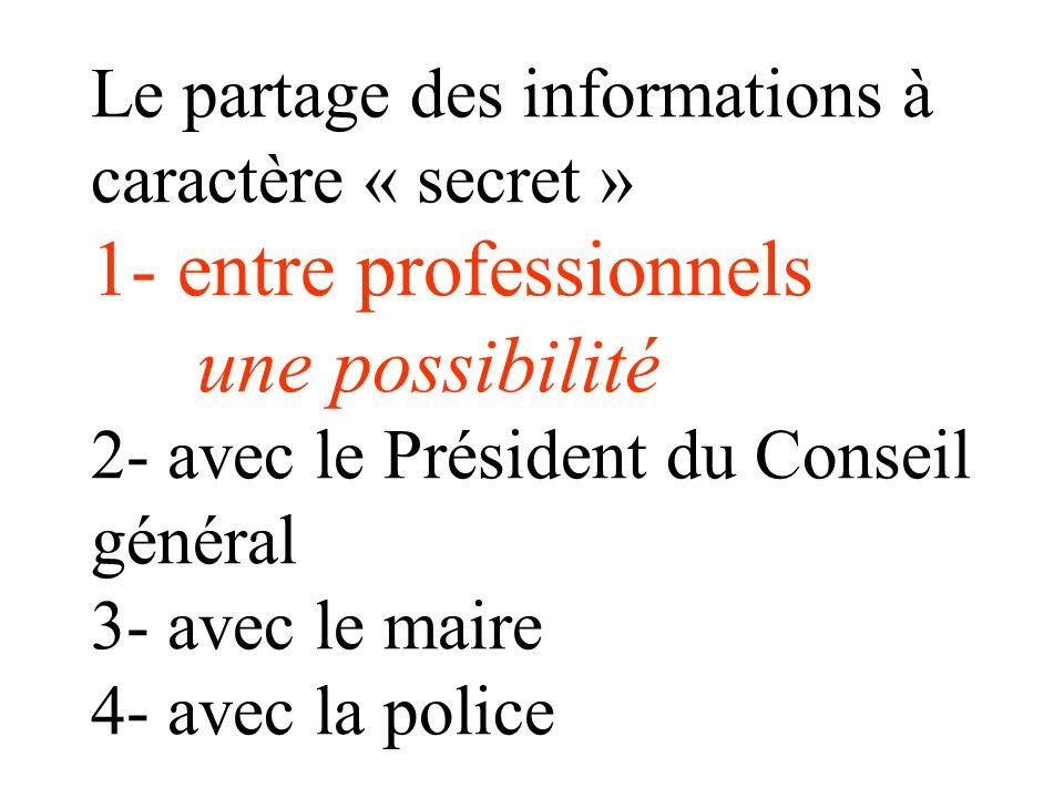 Le partage ou la transmission dinformations à caractère secret 1- entre professionnels 2- avec le Président du Conseil général 3- avec le maire 4- ave