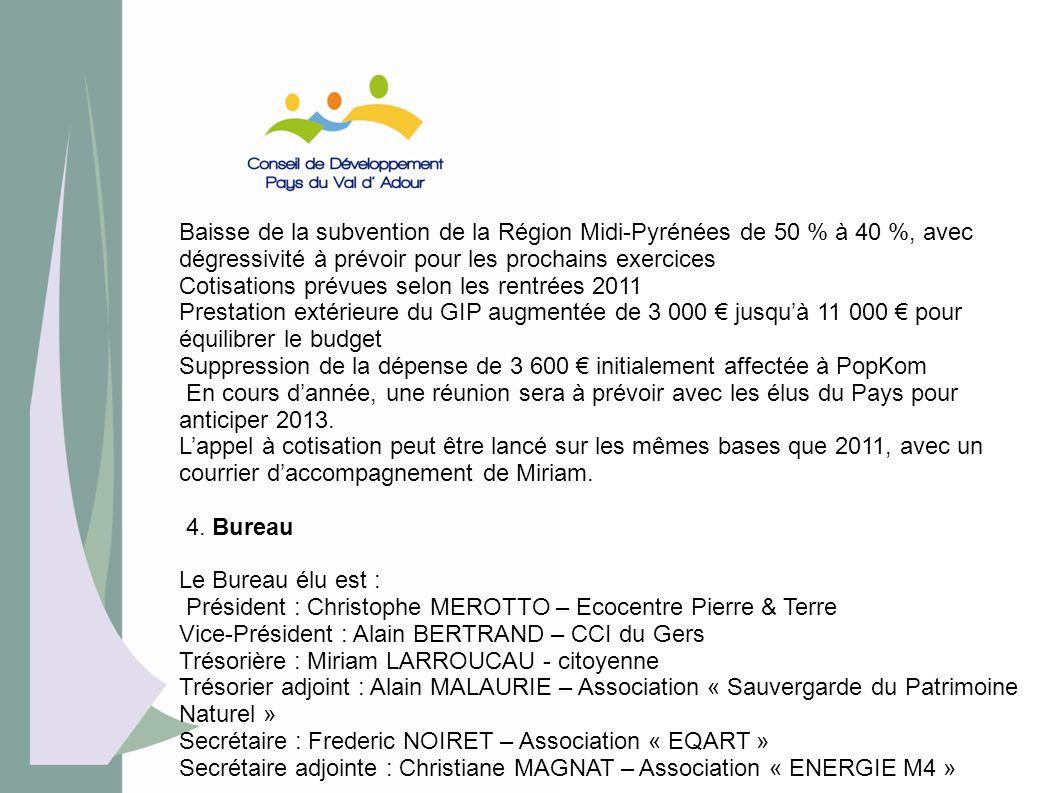 Baisse de la subvention de la Région Midi-Pyrénées de 50 % à 40 %, avec dégressivité à prévoir pour les prochains exercices Cotisations prévues selon