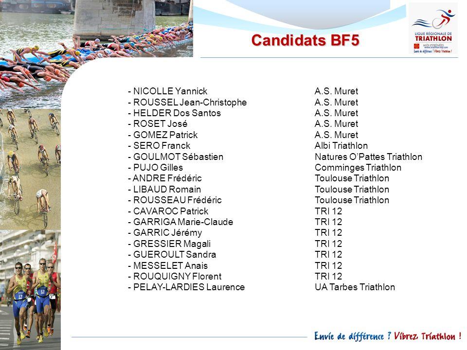 Candidats BF5 - NICOLLE YannickA.S. Muret - ROUSSEL Jean-ChristopheA.S. Muret - HELDER Dos SantosA.S. Muret - ROSET JoséA.S. Muret - GOMEZ PatrickA.S.
