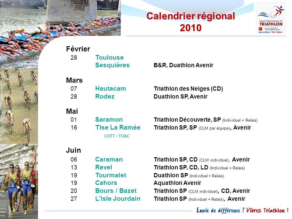 Février 28 Toulouse Sesquières B&R, Duathlon Avenir Mars 07 Hautacam Triathlon des Neiges (CD) 28 Rodez Duathlon SP, Avenir Mai 01 Saramon Triathlon D