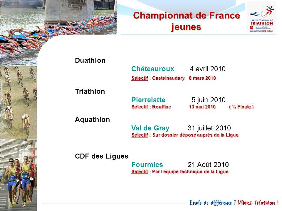 Championnat de France jeunes Duathlon Châteauroux 4 avril 2010 Sélectif : Castelnaudary 8 mars 2010 Triathlon Pierrelatte 5 juin 2010 Sélectif : Rouff