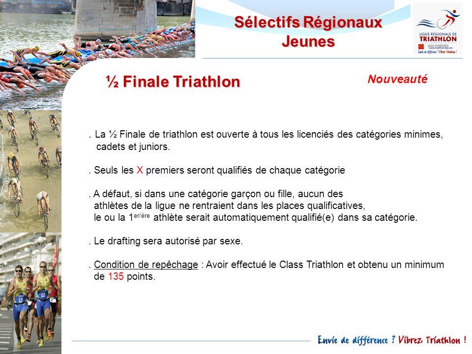 Sélectifs Régionaux Jeunes. La ½ Finale de triathlon est ouverte à tous les licenciés des catégories minimes, cadets et juniors.. Seuls les X premiers
