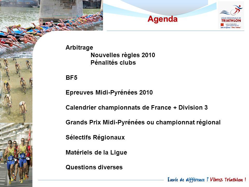 Agenda Arbitrage Nouvelles règles 2010 Pénalités clubs BF5 Epreuves Midi-Pyrénées 2010 Calendrier championnats de France + Division 3 Grands Prix Midi