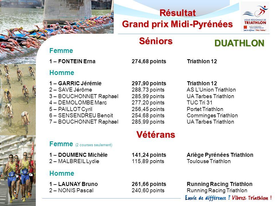 Résultat Grand prix Midi-Pyrénées Séniors Femme 1 – FONTEIN Erna274,68 pointsTriathlon 12 Homme 1 – GARRIC Jérémie297,90 pointsTriathlon 12 2 – SAVE J