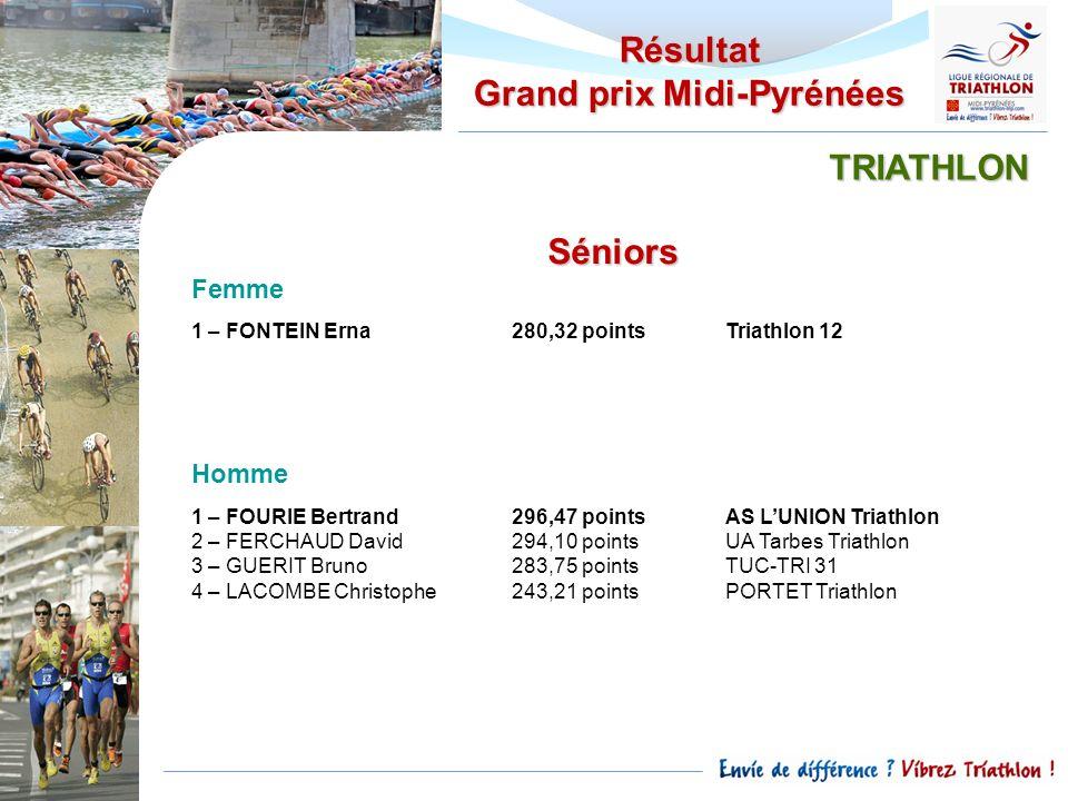 Résultat Grand prix Midi-Pyrénées Séniors Femme 1 – FONTEIN Erna280,32 pointsTriathlon 12 Homme 1 – FOURIE Bertrand296,47 pointsAS LUNION Triathlon 2