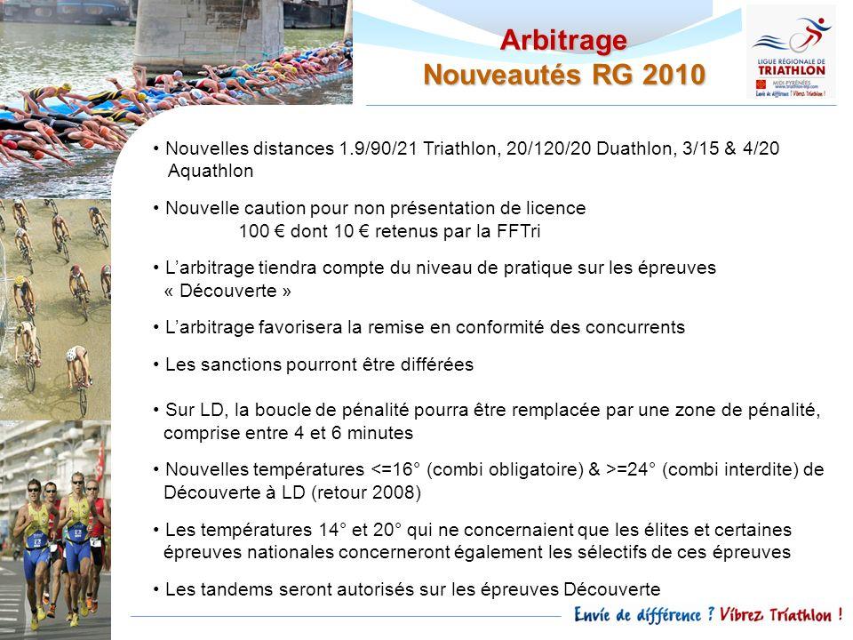 Nouvelles distances 1.9/90/21 Triathlon, 20/120/20 Duathlon, 3/15 & 4/20 Aquathlon Nouvelle caution pour non présentation de licence 100 dont 10 reten