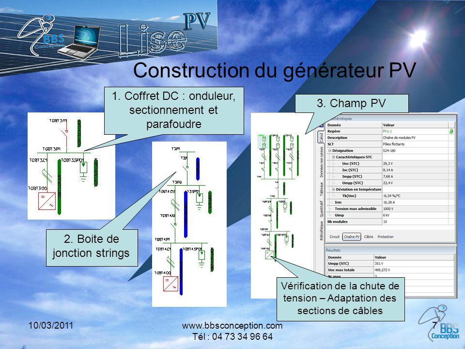 10/03/2011www.bbsconception.com Tél : 04 73 34 96 64 7 Construction du générateur PV 1. Coffret DC : onduleur, sectionnement et parafoudre 2. Boite de