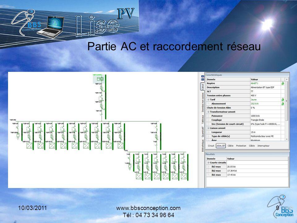 10/03/2011www.bbsconception.com Tél : 04 73 34 96 64 9 Partie AC et raccordement réseau