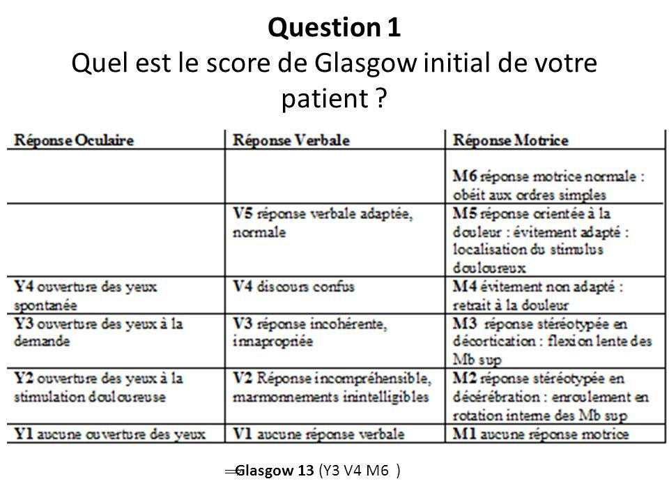 Question 1 Quel est le score de Glasgow initial de votre patient ? Glasgow 13 (Y3 V4 M6 )