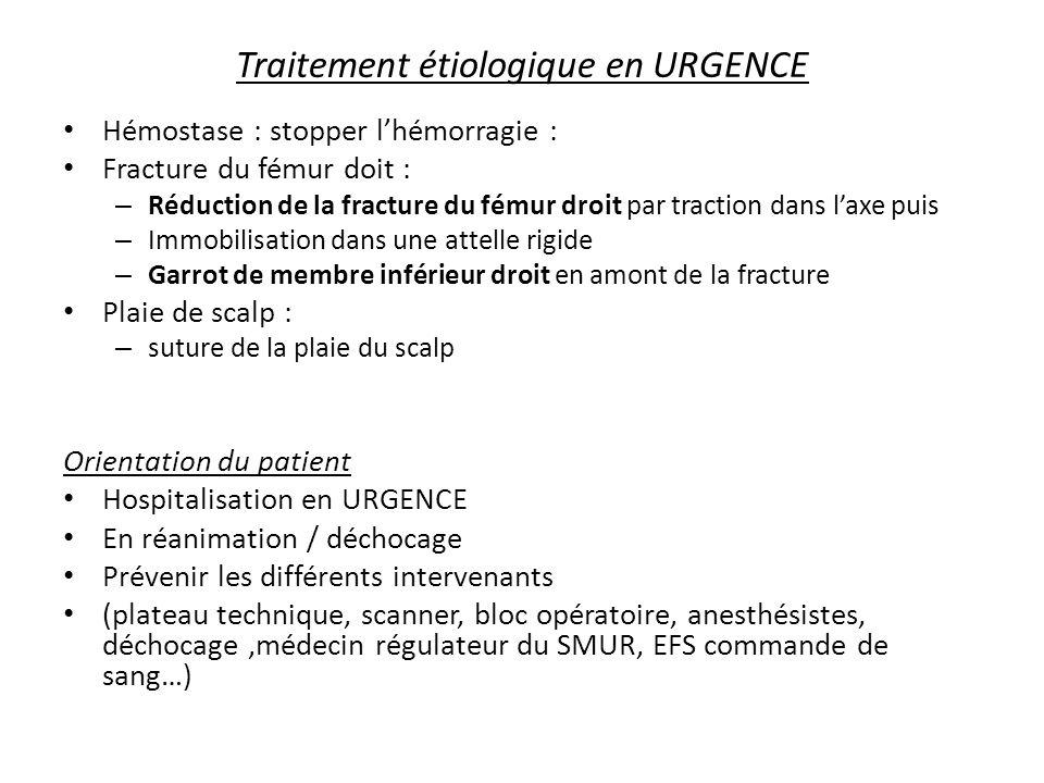 Traitement étiologique en URGENCE Hémostase : stopper lhémorragie : Fracture du fémur doit : – Réduction de la fracture du fémur droit par traction da