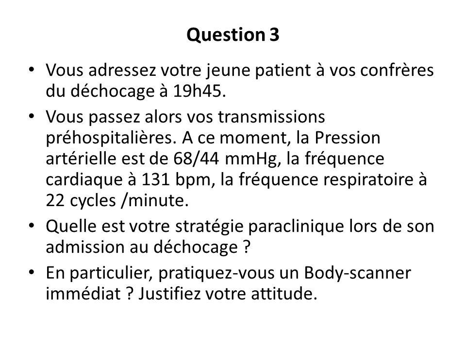 Question 3 Vous adressez votre jeune patient à vos confrères du déchocage à 19h45. Vous passez alors vos transmissions préhospitalières. A ce moment,