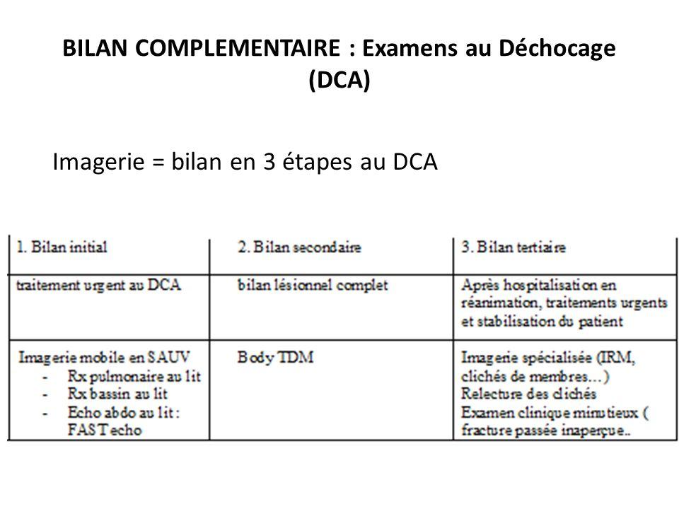 BILAN COMPLEMENTAIRE : Examens au Déchocage (DCA) Imagerie = bilan en 3 étapes au DCA