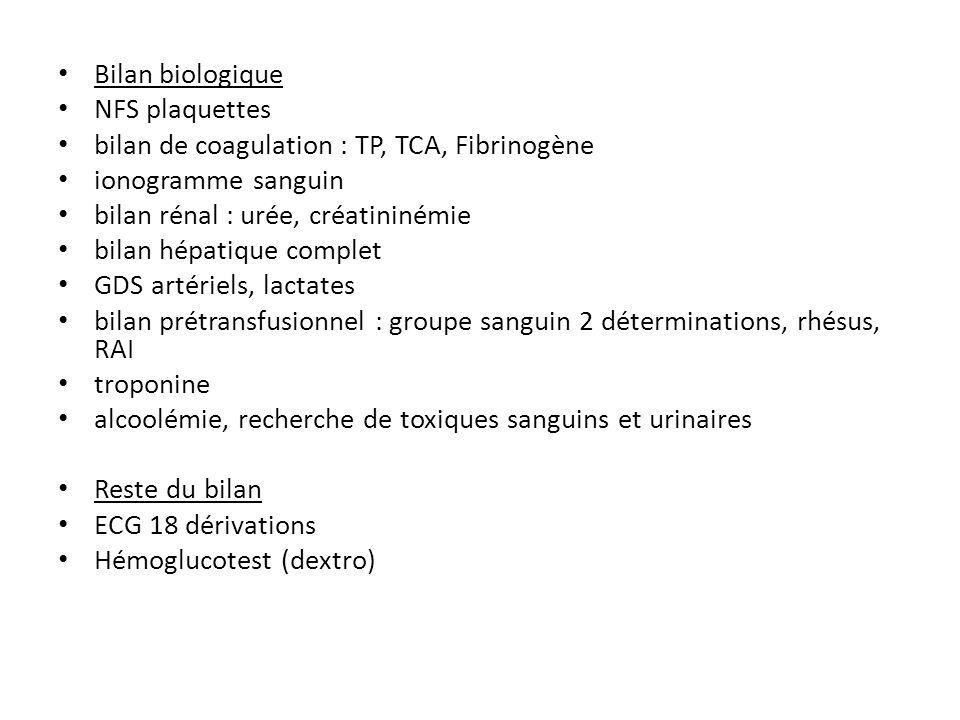Bilan biologique NFS plaquettes bilan de coagulation : TP, TCA, Fibrinogène ionogramme sanguin bilan rénal : urée, créatininémie bilan hépatique compl