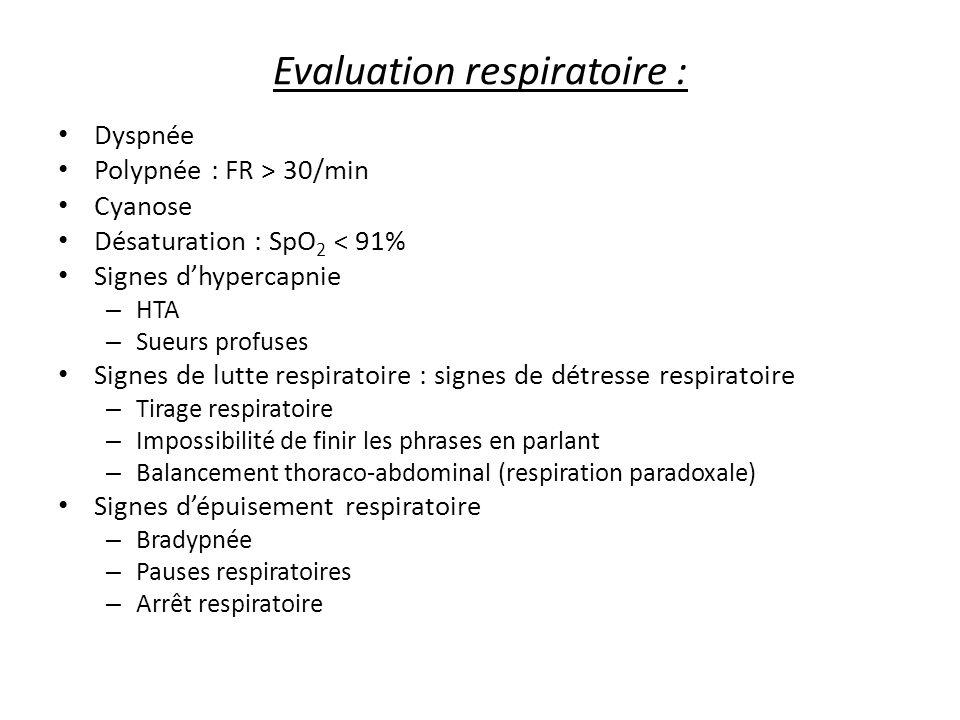 Evaluation respiratoire : Dyspnée Polypnée : FR > 30/min Cyanose Désaturation : SpO 2 < 91% Signes dhypercapnie – HTA – Sueurs profuses Signes de lutt